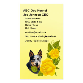 Australian Cattle Dog and Yellow Roses Business Card