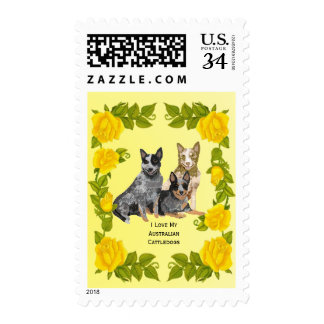 Australian Cattle Dog and Yellow Roses Stamp
