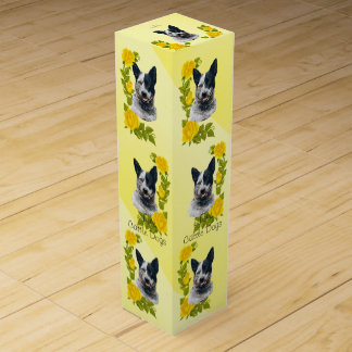 Australian Cattle Dog and Yellow Roses Wine Gift Box