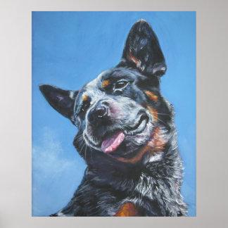 australian cattle dog blue heeler art print poster