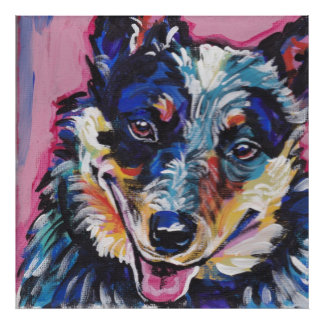 Australian Cattle Dog Blue Heeler bright pop art Poster