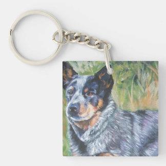 australian cattle dog blue heeler fine dog art keychain