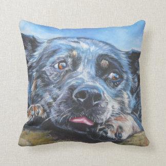 australian cattle dog blue heeler fine dog art throw pillow