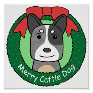 Australian Cattle Dog Christmas Poster