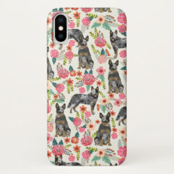 Australian Cattle Dog Florals Blue Heeler iPhone XS Case