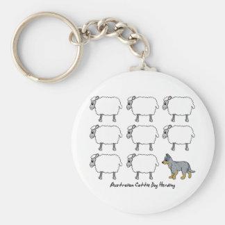 Australian Cattle Dog Herding Sheep Keychain