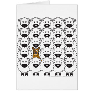Australian Cattle Dog in the Sheep Greeting Card