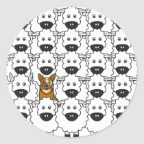 Australian Cattle Dog in the Sheep Classic Round Sticker