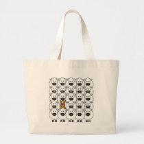 Australian Cattle Dog in the Sheep Large Tote Bag