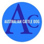 Australian Cattle Dog Monogram Classic Round Sticker