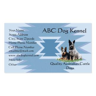 Australian Cattle Dog on Blue Indian Design Business Card