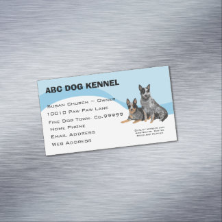 Australian Cattle Dog on Blue Swirl Magnetic Business Card