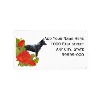 Australian Cattle Dog on Red Roses Address Label