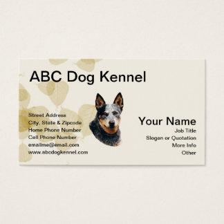 Australian Cattle Dog on Tan Leaves Business Card