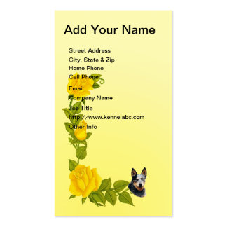 Australian Cattle Dog on Yellow Roses Business Card