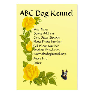 Australian Cattle Dog on Yellow Roses Large Business Card