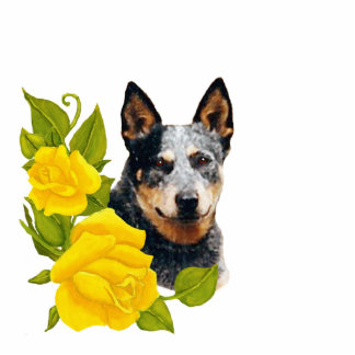 Australian Cattle Dog on Yellow Roses Statuette