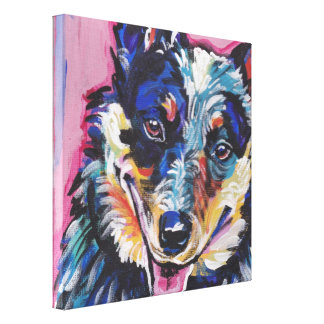 Australian Cattle Dog Pop Dog Art Wrapped Canvas