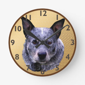 Australian Cattle Dog Portrait Round Clock