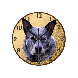 Australian Cattle Dog Portrait Round Clock
