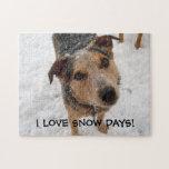 Australian Cattle Dog Puppy Loves Snow Days Jigsaw Puzzles