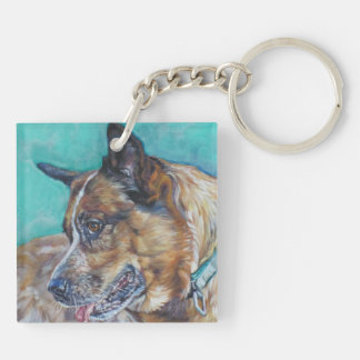 australian cattle dog red heeler fine dog art Double-Sided square acrylic keychain