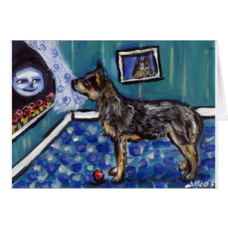 Australian Cattle dog sees smiling moon Greeting Card