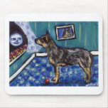 Australian Cattle dog sees smiling moon Mouse Pad
