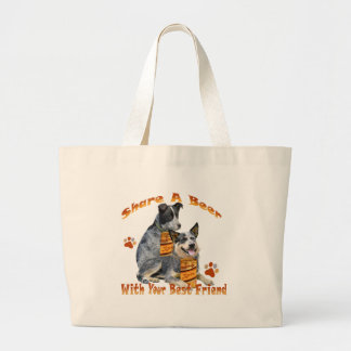 Australian Cattle Dog Share A Beer Large Tote Bag
