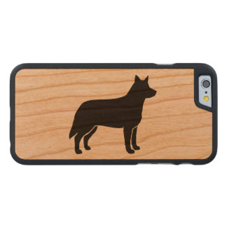Australian Cattle Dog Silhouette Carved Cherry iPhone 6 Slim Case