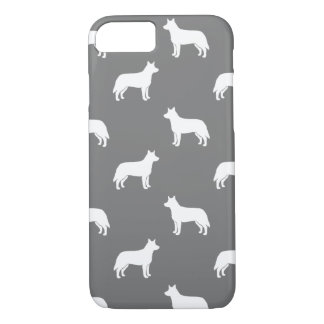 Australian Cattle Dog Silhouettes Pattern Grey iPhone 8/7 Case