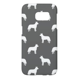 Australian Cattle Dog Silhouettes Pattern Grey Samsung Galaxy S7 Case