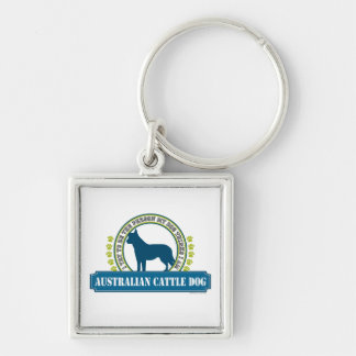 Australian Cattle Dog Silver-Colored Square Keychain