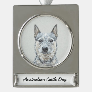 Australian Cattle Dog Silver Plated Banner Ornament