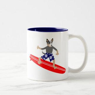 Australian Cattle Dog Surfer Two-Tone Coffee Mug