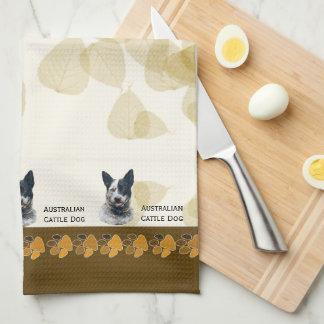 Australian Cattle Dog Tan Leaves Dishtowel Towels