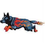 "Australian Cattle Dog - Unsafe at any Speed Statuette<br><div class=""desc"">This pin with racing flames was designed by North Carolina artists Ann LePere and Susan Phillips. Unsafe at any Speed aptly describes the energy and drive of our beloved cattle dogs when they&#39;re in need of exercise.</div>"