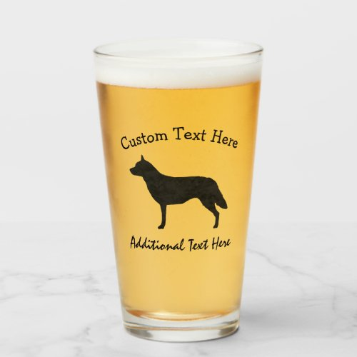 Australian Cattle Dog Watercolor Silhouette Glass