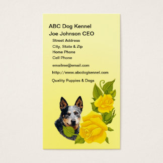 Australian Cattle Dog with Yellow Roses Business Card
