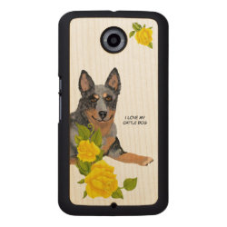 Carved Google Nexus 6 Slim Wood Case with Australian Cattle Dog Phone Cases design