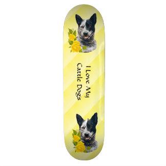 Australian Cattle Dog & Yellow Roses Skateboard