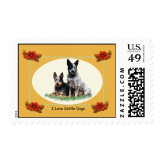 Australian Cattle Dogs Autumn Floral Postage Stamp