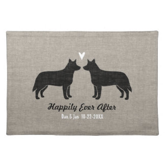 Australian Cattle Dogs with Heart and Custom Text Cloth Placemat