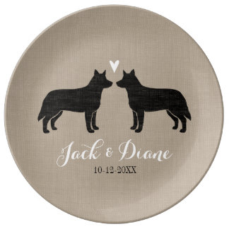 Australian Cattle Dogs with Heart and Text Plate