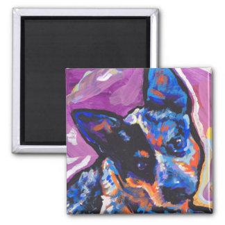 australian cattle pop dog art 2 inch square magnet
