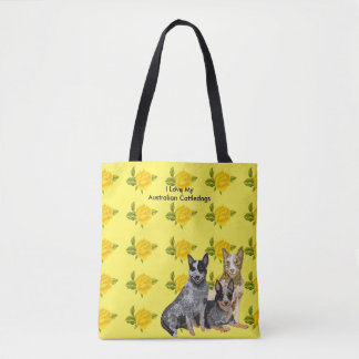 Australian Cattledog and Yellow Roses Tote Bag