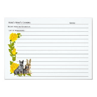 Australian Cattledog, Yellow Roses Recipe Card