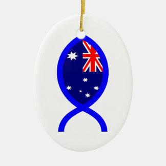 Australian ChrIstian Fish Symbol Flag Christmas Ornaments