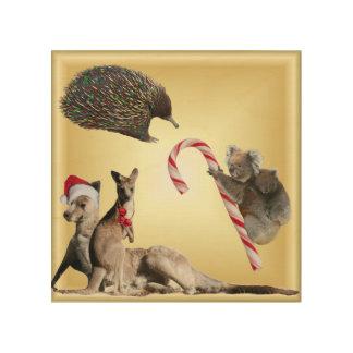 Australian Christmas Animals Wood Canvas