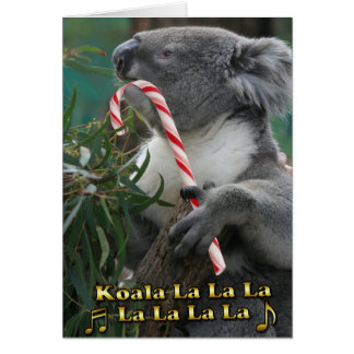 Australian Christmas Koala With Candy Cane Card